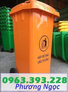 Thùng đựng rác công cộng 120L, thùng rác 2 bánh xe, thùng rác nhựa HDPE 120 Lít