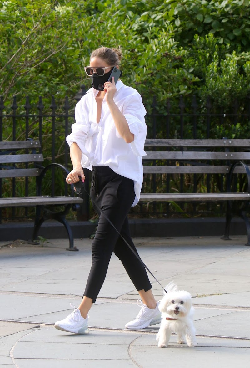 Olivia Palermo Cliked Outside with Her Dog in Brooklyn 28 Jul -2020