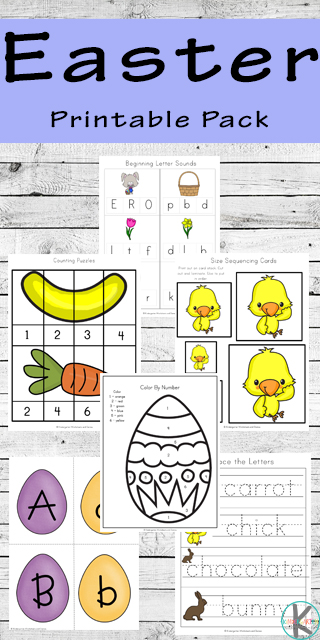 FREE Easter Worksheets - these printables are filled with Easter Activities for toddler, preschool, prek, kindergarten, and first grade including alphabet letters, color by letter, color by number, counting, skip counting, addition, which comes next, size sorting, color words, and and an Easter Emergent Reader.