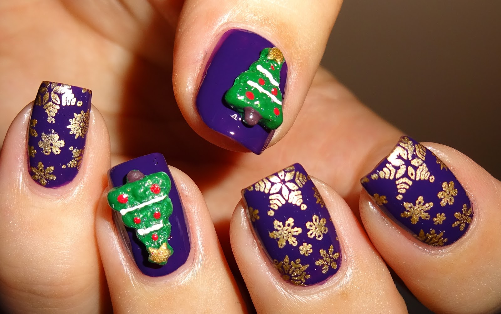 Christmas 3d Nail Art With Ring: Wendy's Delights: 3D Nail Art Christmas Trees From