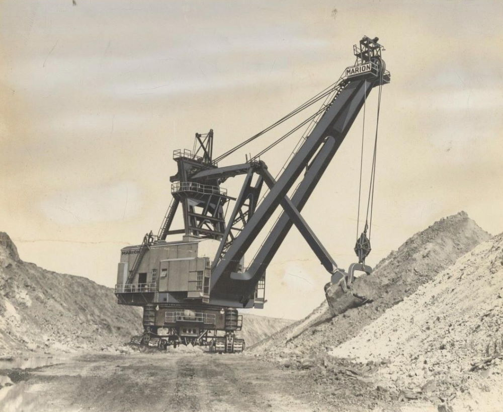 A power shovel used in strip mining.