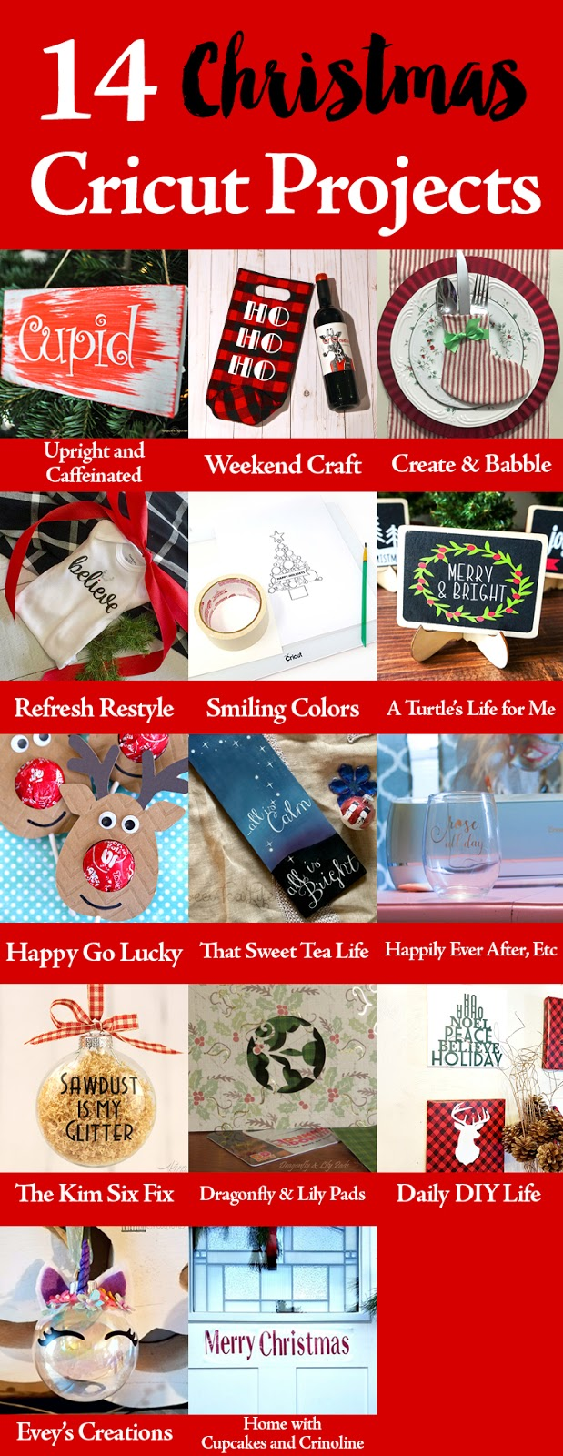 Craft & Create Cricut Challenge 14 Christmas Projects by incredible bloggers.
