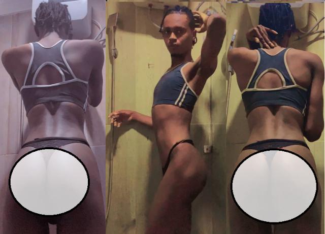 Crossdresser, Onyx Godwin showoff his backside (Photos)