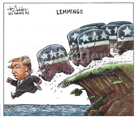 Reaganite Independent: Hump-Day Humor Obama Lemmings Jumping Off A Cliff