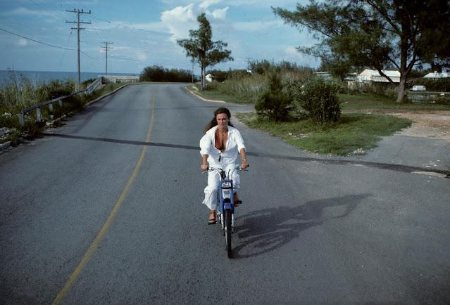 Jacqueline Bisset passes Little Watford Bridge during filming in 1976