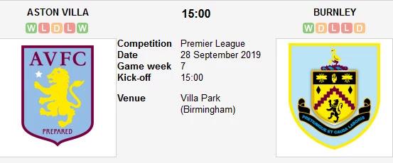 مشاهدة مباراة استون فيلا وبيرنلي  بث مباشر بتاريخ 28-09-2019 الدوري الانجليزي