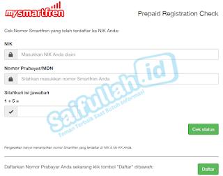 Cara cek kartu yang teregistrasi via Website Situs MySmartfren