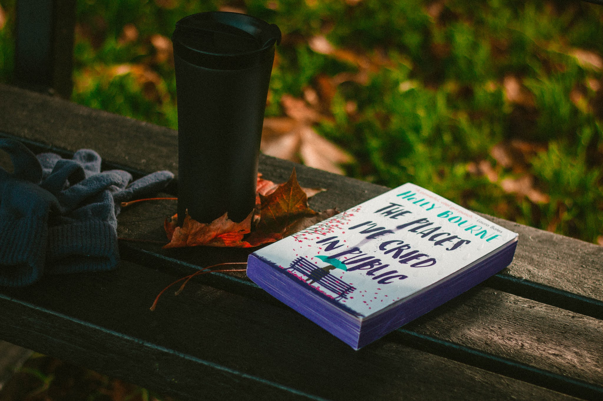 The Places I've Cried in Public by Holly Bourne - on public bench with autumn leaves. YA book review