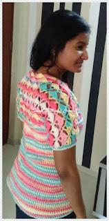 free crochet pattern, free crochet ladies top, ICE Batik yarn