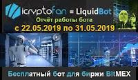 LiquidBot - отчёт работы бесплатного бота для биржи BitMEX с 22.05.2019 по 31.05.2019