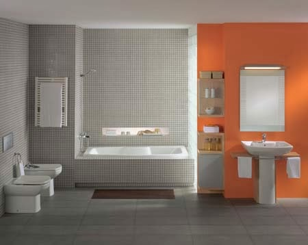 Baños en color naranja y gris - Colores en Casa
