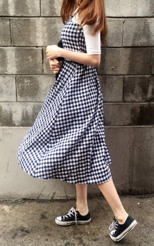 Gingham Check Sleeveless Midi Dress