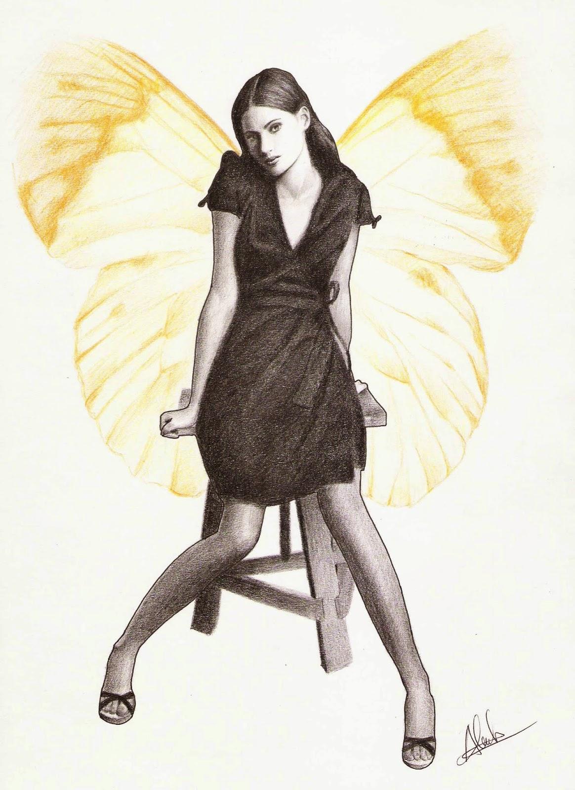 Retrato de fantasía con lápiz de color