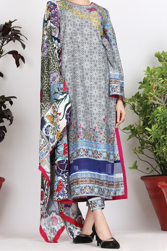Almirah navy Blue cambric 3 pc suit Eid collection