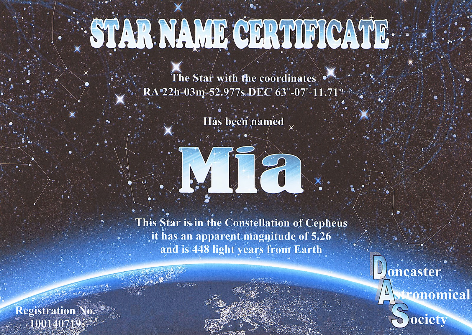 doncaster astronomical society star registry