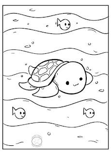 dibujo kawai tortuga para colorear