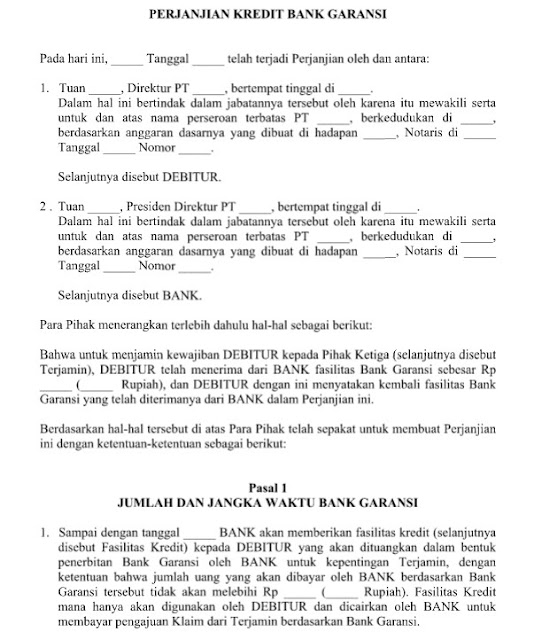 Contoh Surat Perjanjian Kredit Bank Garansi Format File Word