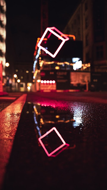 Screen background Night, road, neon, water, reflection