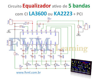 Circuito Equalizador ativo de 5 bandas com CI LA3600 ou KA2223 + PCI