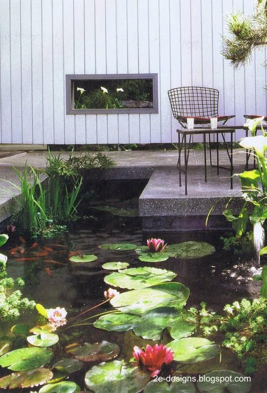 fuente con plantas en un patio y jardn