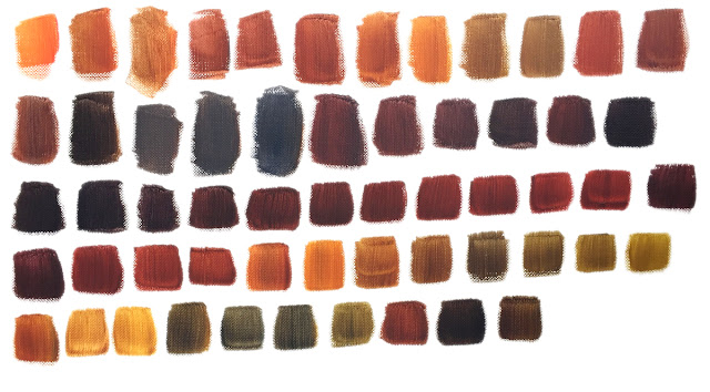 acrylic paint neutral swatches mixed from primaries plus black