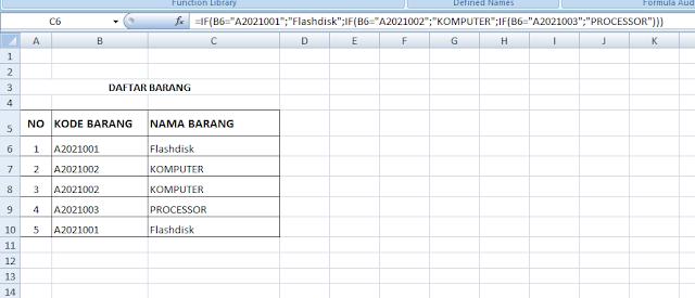 Menentukan Nama Barang Berdasarkan Kodenya di Excel