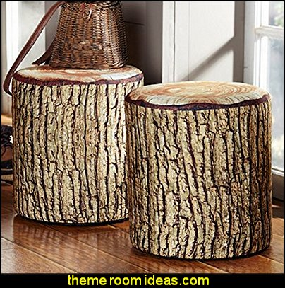 Cushioned Tree Bark Log Seat  log cabin - rustic style decorating - Cabin decor - bear decor - camping in the northwoods style  - Antler decor - log cabin boys theme bedroom - Cabin Bedding - Rustic Bedding - rustic furniture - cedar beds - log beds - LOG CABIN DECORATING IDEAS - Swiss chalet ski lodge murals - camping room decor - hunting and fishing theme decorating - winter cabin decorating