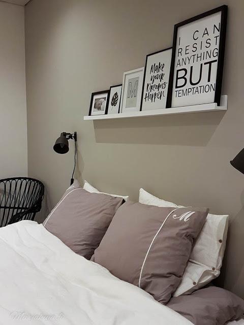 makuuhuone fullmoon kampapuuvilla lakana petivaatteet hektar tauluhylly sisustus pallovalot