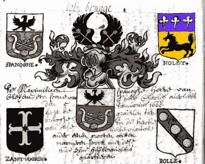 Blasons des familles Spanoghe, Nolet, Zantvoorde et Bolle.