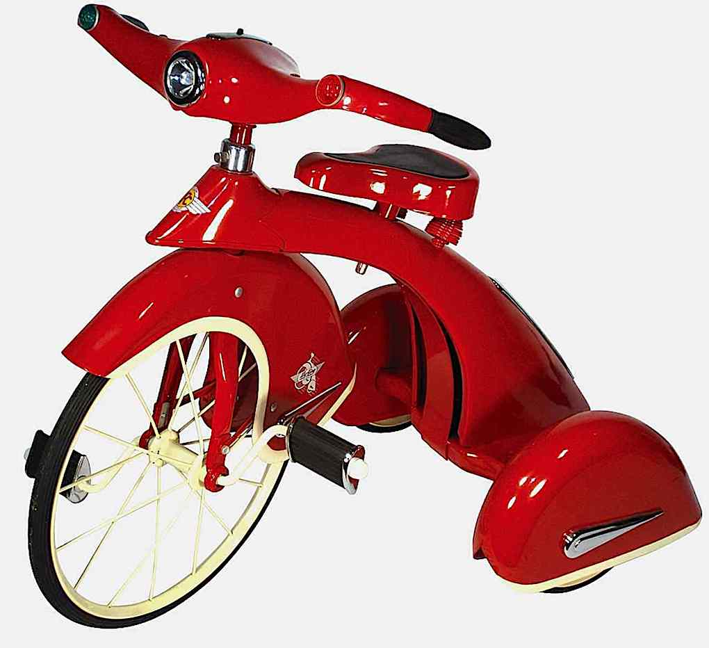 a color photograph of a 1940s streamline child's red tricycle