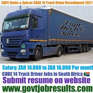 Cape Herb CODE 14 Truck Driver Recruitment 2021-22