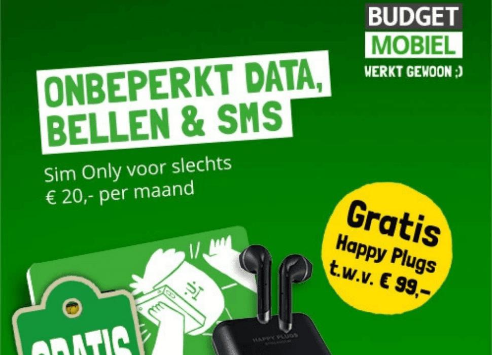 Budget mobiel - Nú met gratis Happy Plugs t.w.v. € 99,-
