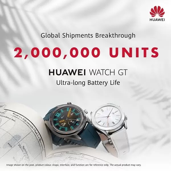 Huawei Watch GT Surpasses 2M Units Sold Globally