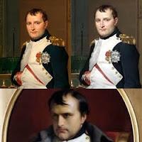 Ilustração com três imagens célebres de Napoleão Bonaparte