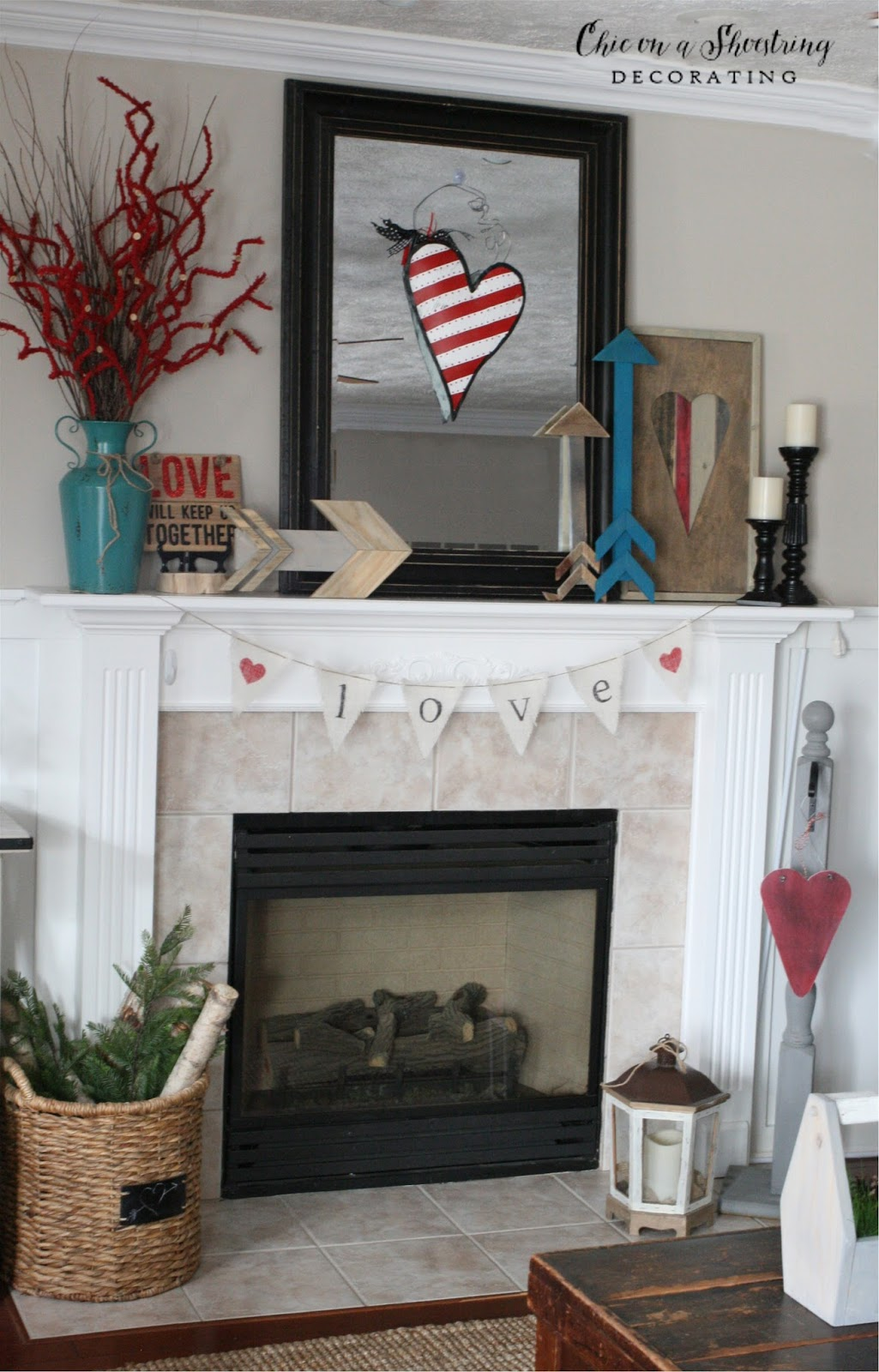 Chic on a shoestring decorating farmhouse valentine 39 s day for Farmhouse fireplace decor