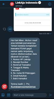 Komplain tagihan yang gagal lewat DM twitter