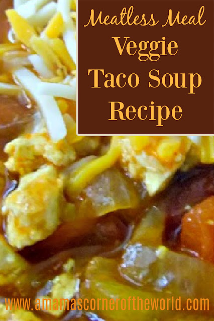 Pinnable image for a vegetarian taco soup recipe