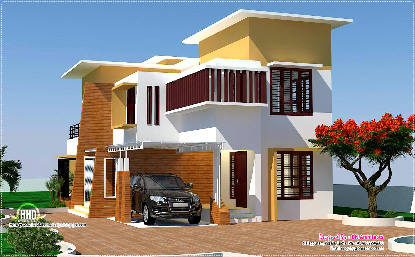 4 bedroom modern villa design kerala home design and for Modern house designs and floor plans in india