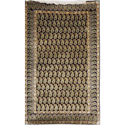 Black Kashmiri Carpet with Knotted