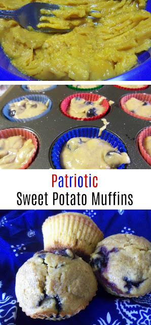 These patriotic sweet potato muffins have red, white, and blue colors and are full of flavor. Use canned sweet potatoes for extra fast preparation! Make them this 4th of July!