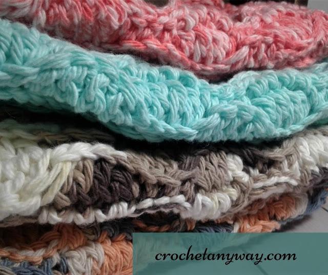 wave stitch cotton yarn spa washcloth/washrag/dishcloth