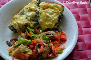 Oven baked tuna omelette with salad