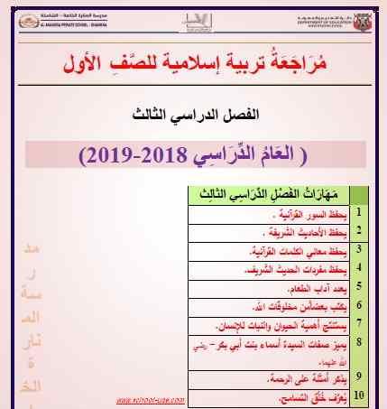 مراجعة  تربية اسلامية للصف الاول الفصل الثالث - موقع مدرسة الامارات