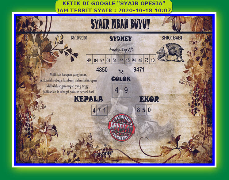 Kode syair Sydney Minggu 18 Oktober 2020 108