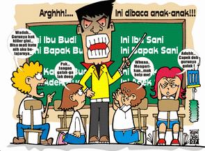 Gambar Kartun Guru Yang Sedang Mengajar Kata Kata