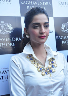 Sonam Kapoor in a white Shirt stunning cute beauty At Raghavendra Rathore Store Launch In Hyderabad
