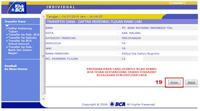 Cara Menambah Daftar Rekening Tujuan di KlikBCA / Internet Banking BCA - Halaman Menu Daftar Rekening Tujuan - Preview Input Data Bank Lain (KlikBCA)