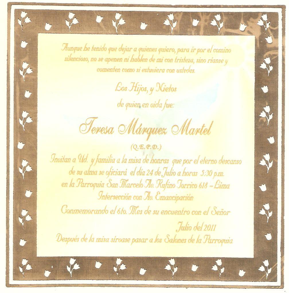 Invitaciónes Para Misa De Aniversario Luctuoso Imagui