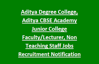 Aditya Degree College, Aditya CBSE Academy Junior College Faculty, Lecturer, Non Teaching Staff Jobs Recruitment Notification 2017-18