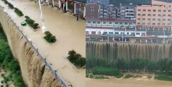 Flood waters turn the bridge into an impressive waterfall (Image: Shanghaist)